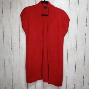Ann Taylor Red Angora Short Sleeve Long Cardigan